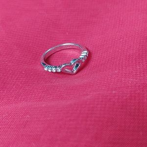 Open Heart Rhinestone Ring, Size 5